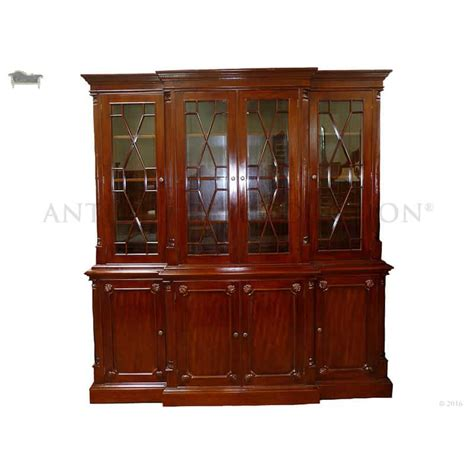 Reproduction Bookcase by Breakfront Bookcase 4 Door Mahogany Antique Reproduction
