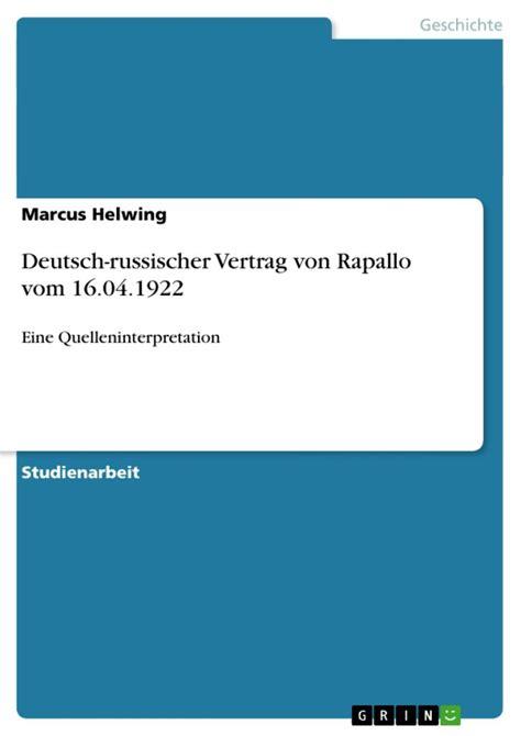 deutsch russischer vertrag von rapallo marcus helwing
