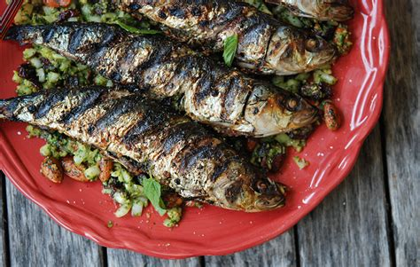 cuisine cup grilled sardines with mint almonds andrew zimmern