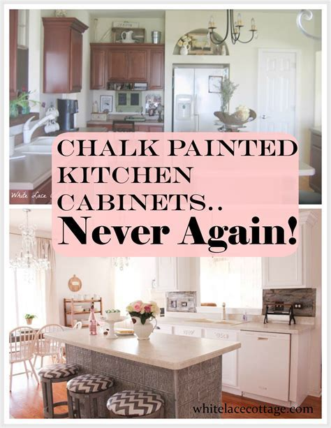 Chalk Painted Kitchen Cabinets Never Again!   White Lace
