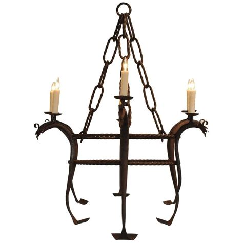 italian wrought iron six light chandelier ul wired early