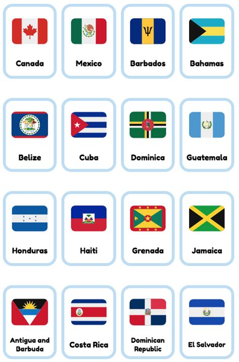 16 free North American countries printable flashcards made ...