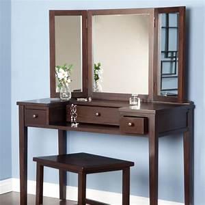 Bedroom Simple Vanity Dressing Table With Dark Brown Theme