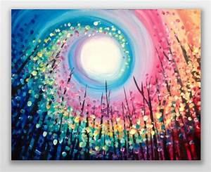 So, Cool, Rainbow, Swirled, Sun, Colorful, Tree, Painting, Easy
