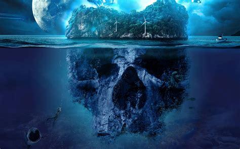 wallpaper skull island mystery surreal ocean hd