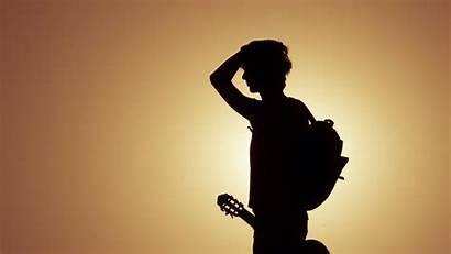 Guitar Silhouette Musician Sunset Instrument Musical 4k