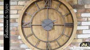 Horloge Murale Industrielle : horloge murale ronde xxl 100 cm de style industriel bois et m tal int rieurs styles ~ Teatrodelosmanantiales.com Idées de Décoration