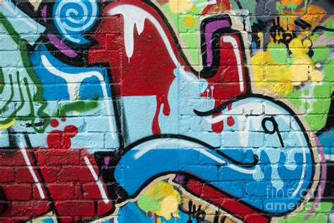 Abstract Spray-paint On The Brick Wall Painting By Yurix