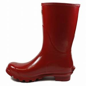 Barbour Short Gloss Womens Slip On Rubber Wellington Boots Red