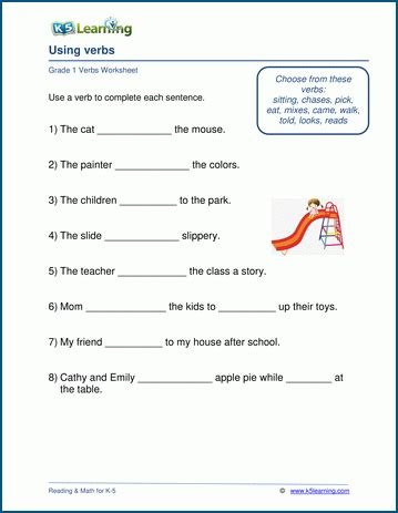 grade  worksheets  verbs  printable docx