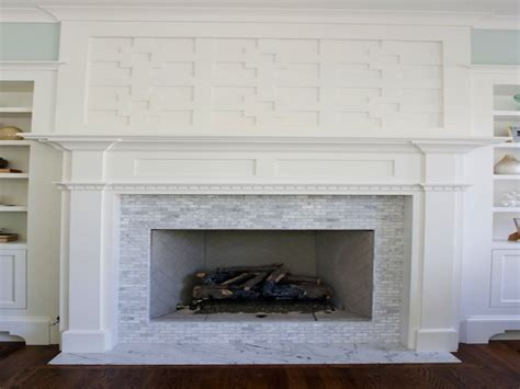 White Marble Tile Fireplace Interior Designs