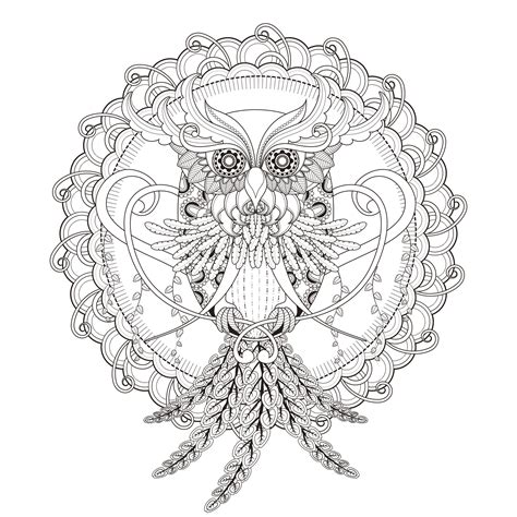 mandala owl malas adult coloring pages