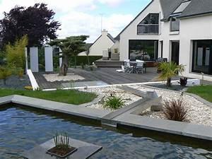 Sculpture De Jardin Contemporaine : terrasse bassin dans un jardin contemporain et moderne tr gueux ~ Carolinahurricanesstore.com Idées de Décoration