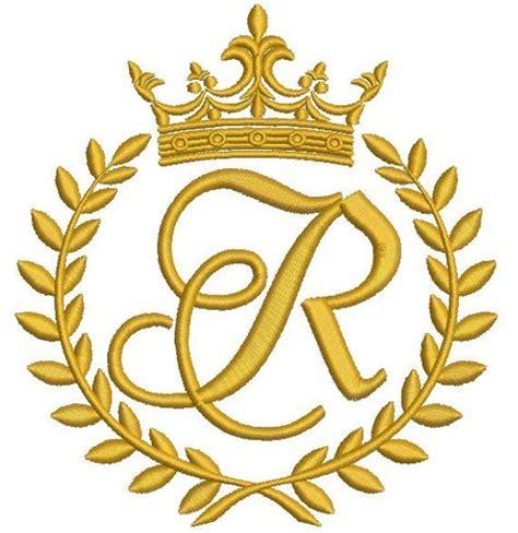 crown laurel wreath   monogram letter  etsy monogram letters machine embroidery