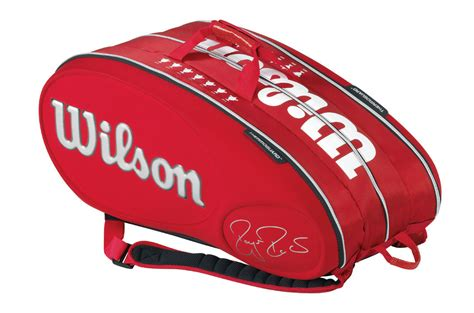 wilson federer limited edition  pack tennis bag red white    tennis