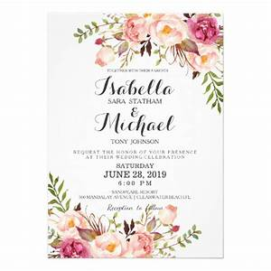 Rustic floral wedding invitation zazzlecouk for Wedding invitation no flowers