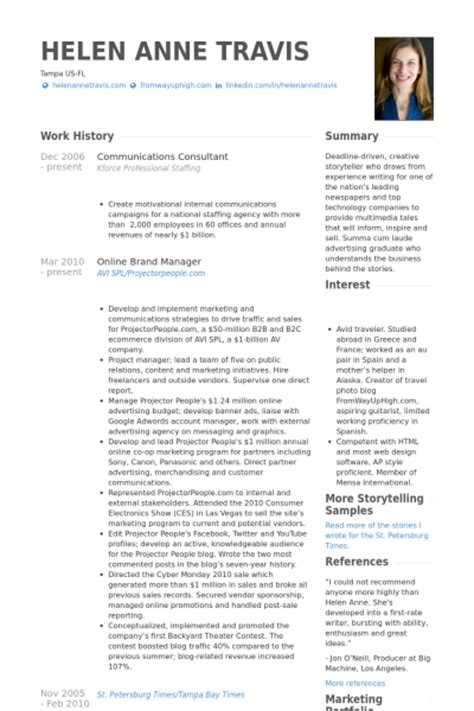 7 communications consultant cv exle visualcv resume