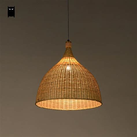 chinese l shades home lighting handmade bamboo rattan round basket shade pendant light