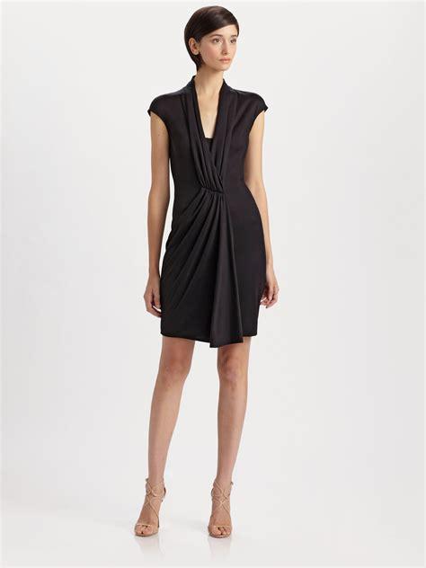 drape nj akris silk jersey drape dress in black lyst