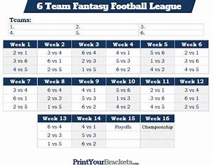 printable 6 team fantasy football league schedule With 7 team schedule template