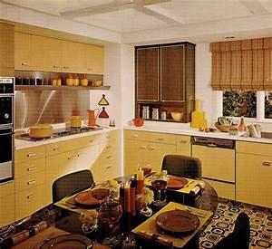 1970s kitchen design - one harvest gold kitchen decorated