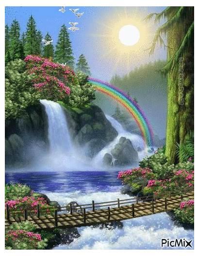 Waterfall Waterfalls Nature Gifs Picmix Landscapes Anna