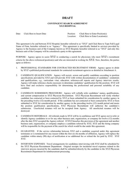 contingent search agreement template  word   formats