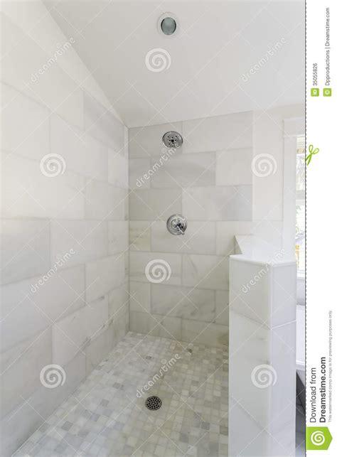 subway tile bathroom floor ideas modern marble tile walk in shower royalty free stock image