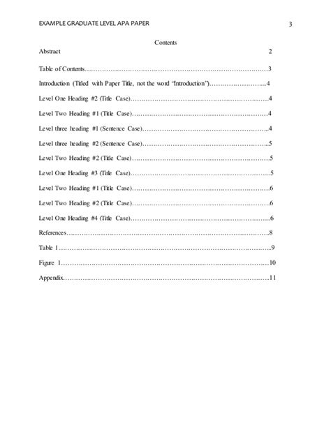 apa table template apa format research paper table of contents
