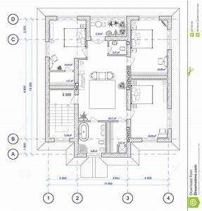architectural plan of 2 floor of house royalty free stock With plan architecture maison 100m2