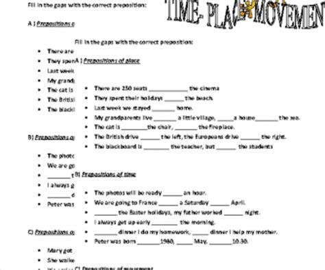 prepositions of time place and movement worksheet