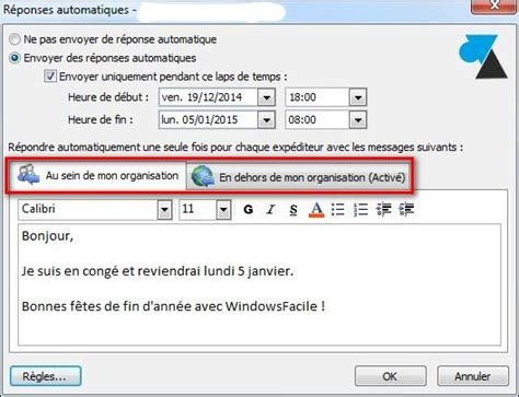 outlook message absence bureau outlook mettre un message d 39 absence pour les vacances