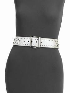 Double F Designer Belt Prada Studded Wide Leather Belt In White Lyst