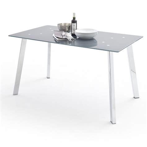 robbie grey glass dining table  chrome legs