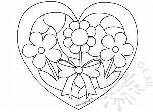 Birthday Balloons Coloring Pages Black And White Flowers Heart Shape Pattern Coloring Page
