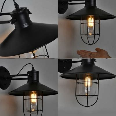 nautical l shade nautical style 1 light 10 wide wall sconce with black