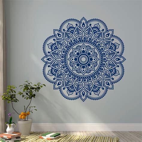 wall decal vinyl sticker mandala ornament lotus flower indian decor meditation bedroom
