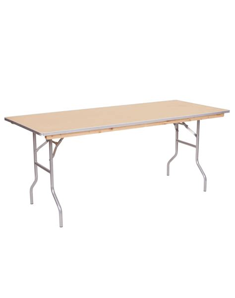 6 foot wood table 6 foot banquet wood folding table metal edging for sale