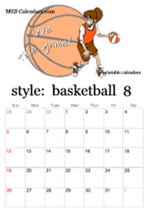 Basketball Calendar Template Costumepartyrun
