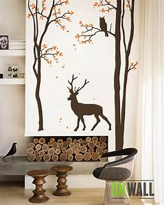 Living room tree wall decal wall sticker deer wall decal for Deer wall decals