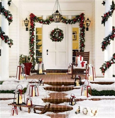 how to decorate indoor column for xmas outdoor decorations garland around porch columns at home