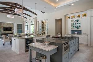 Modern Vaulted Ceiling Kitchen Living Room Design With