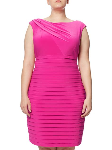Boat Neck Dress Pink by Papell Plus Size Asymmetric Draped Banded Dress