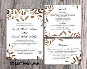 wedding invitation template download printable wedding With gold leaf wedding invitations diy