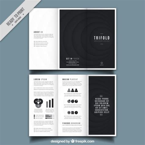 trifold brochure design  black  shapes vector