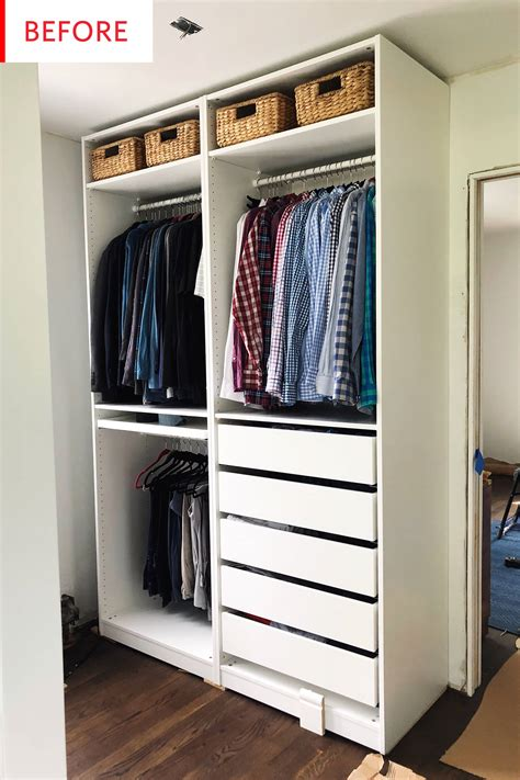 Slim Wardrobe Closet by Smart Ikea Pax Closet Hack Before And After Photos