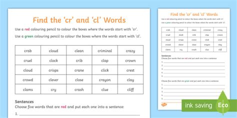 * New * Find The 'cr' And 'cl' Words Activity Sheet