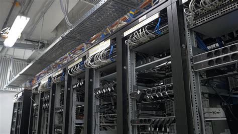 All bitcoin node software comes with the ln activation option. Row Of Bitcoin Miners Set Up On The Wired Shelfs Computer For Bitcoin Mining Cables Plug To ...