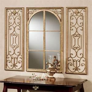 provence bronze finish wall mirror set With mirror wall art