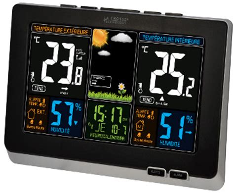 ws6828 la crosse technology station m 233 t 233 o thermo hygro lcd couleur alarmes et dcf77